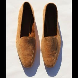 BY FAR Sabina Nude Suede Loafers